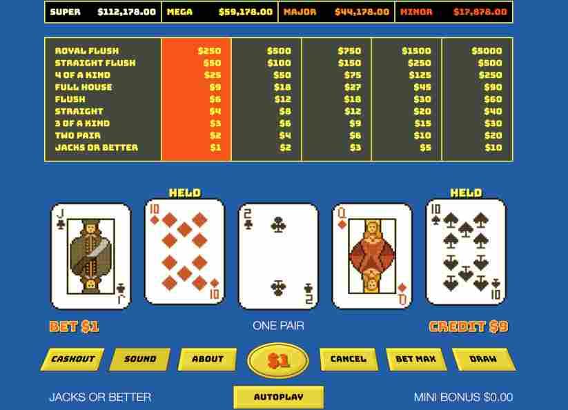 Alien Poker video poker game